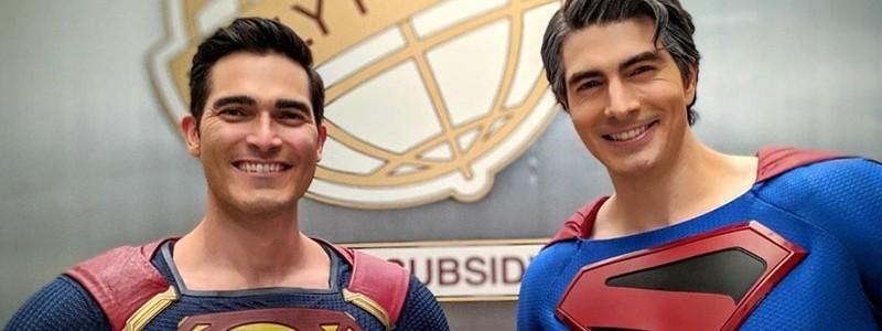 Супермены и другие герои на фото «Кризиса на Бесконечных Землях»