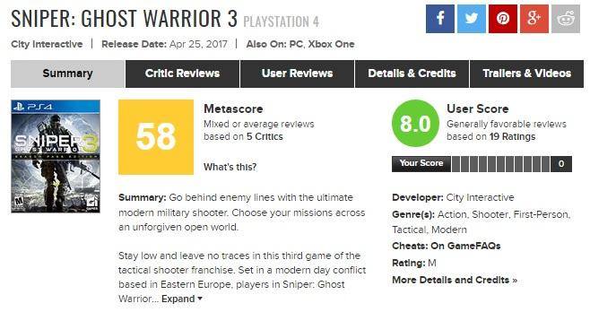 Критики о Sniper: Ghost Warrior 3 - первые оценки