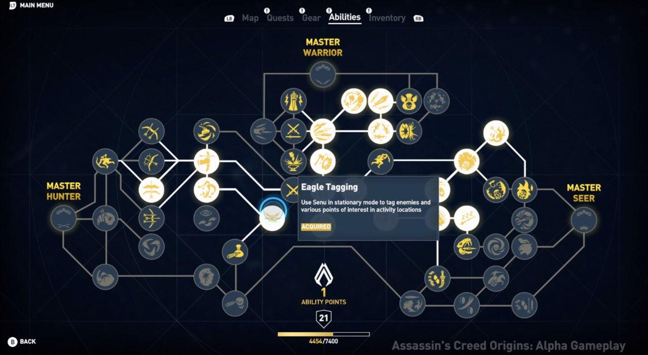 Полное дерево развития в Assassins Creed: Origins / Истоки