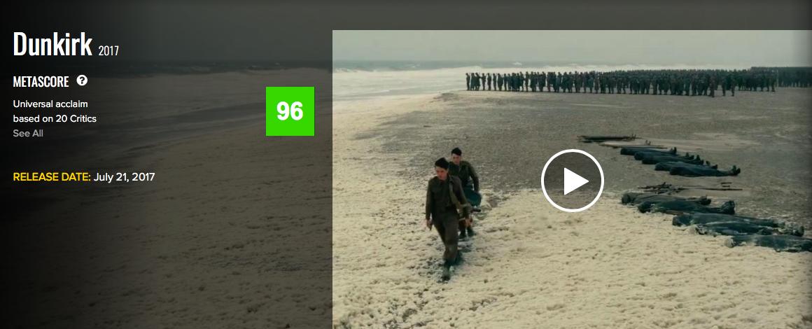 Оценки фильма «Дюнкерк»: лучший фильм 2017 года