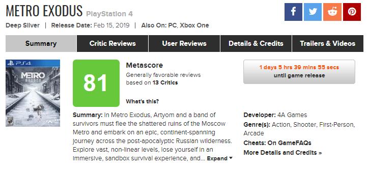 Отзывы критиков и оценки «Метро: Исход»
