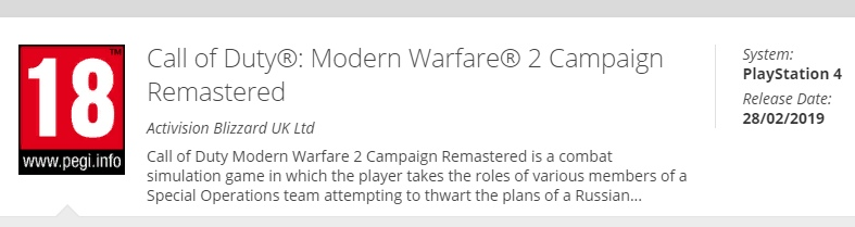 Ремастер Call of Duty: Modern Warfare 2 фактически подтвержден
