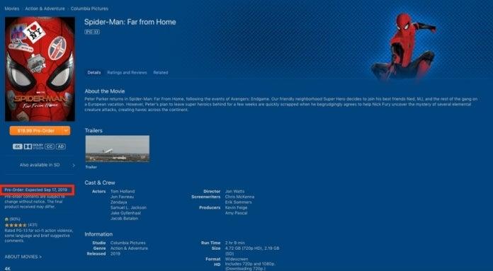 Дата выхода «Человека-паука: Вдали от дома» в хорошем качестве в iTunes