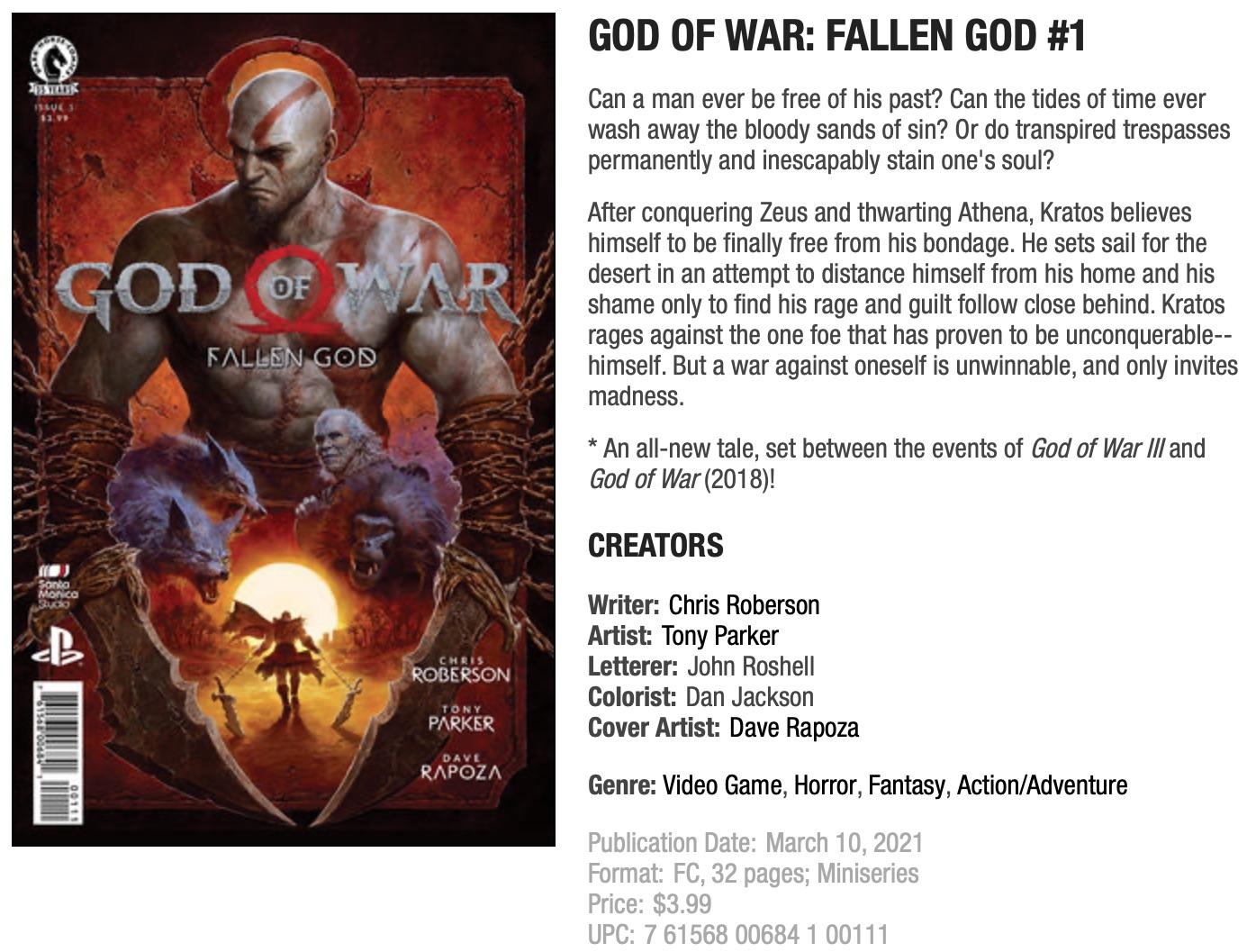 Раскрыта дата выхода God of War: Fallen God