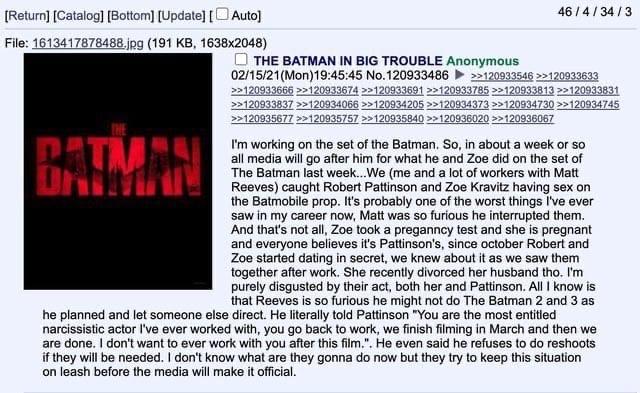 Слух: у Роберта Паттинсона отношения с Зои Кравиц и проблемы с «Бэтменом»