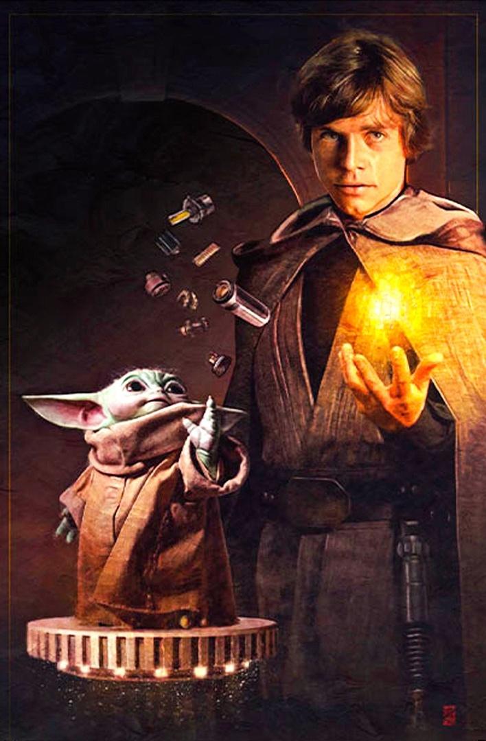 Люк Скайуокер обучает Грогу на новом постере «Звездных войн»