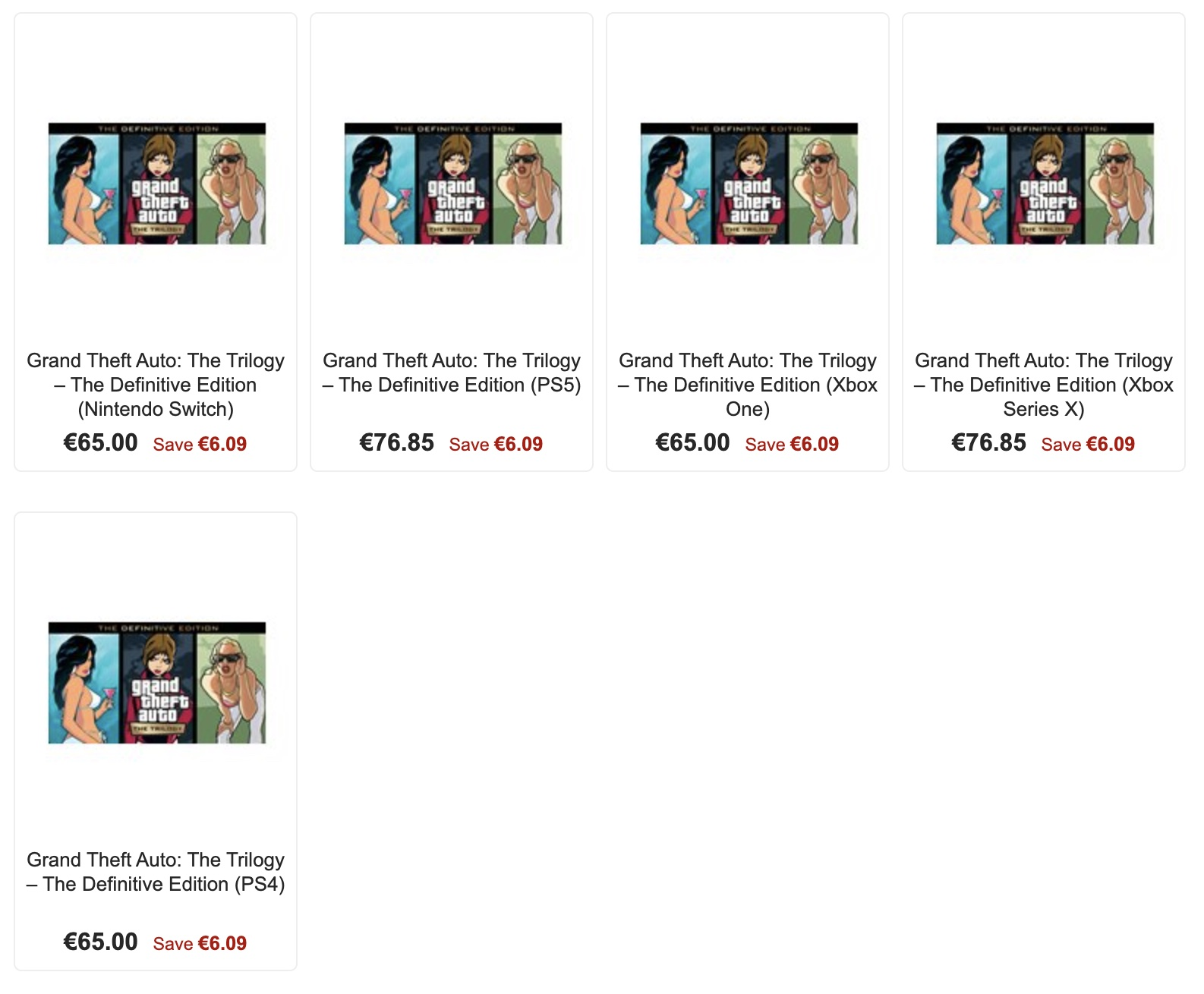 Предзаказ раскрыл цену GTA: The Trilogy - The Definitive Edition